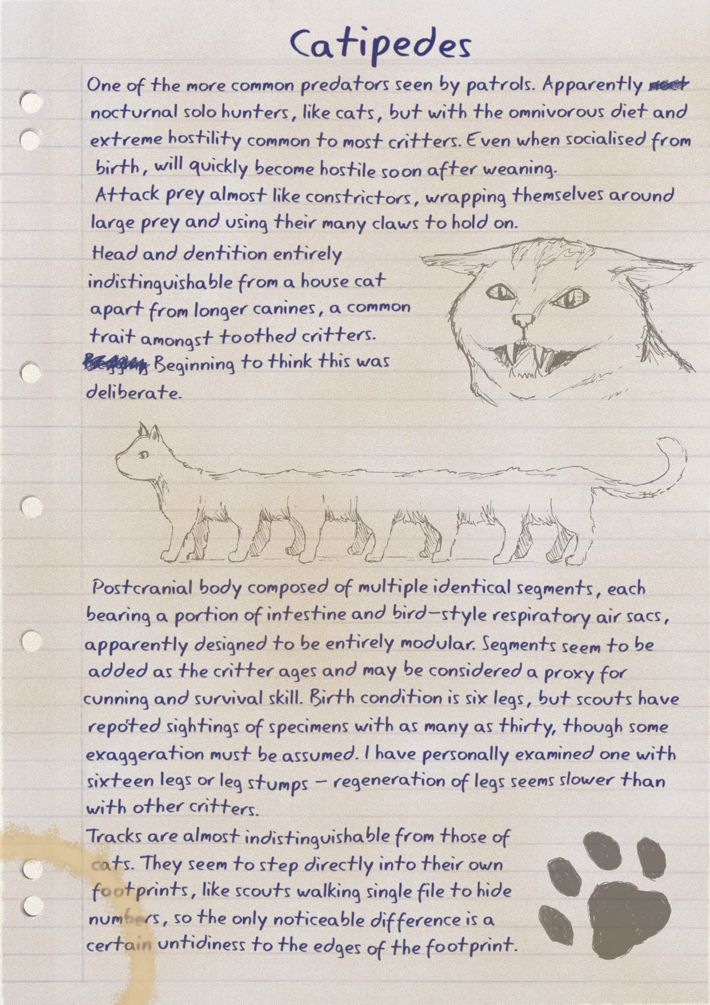 A grimy and stained page of notes on refill. Click for text version and description.