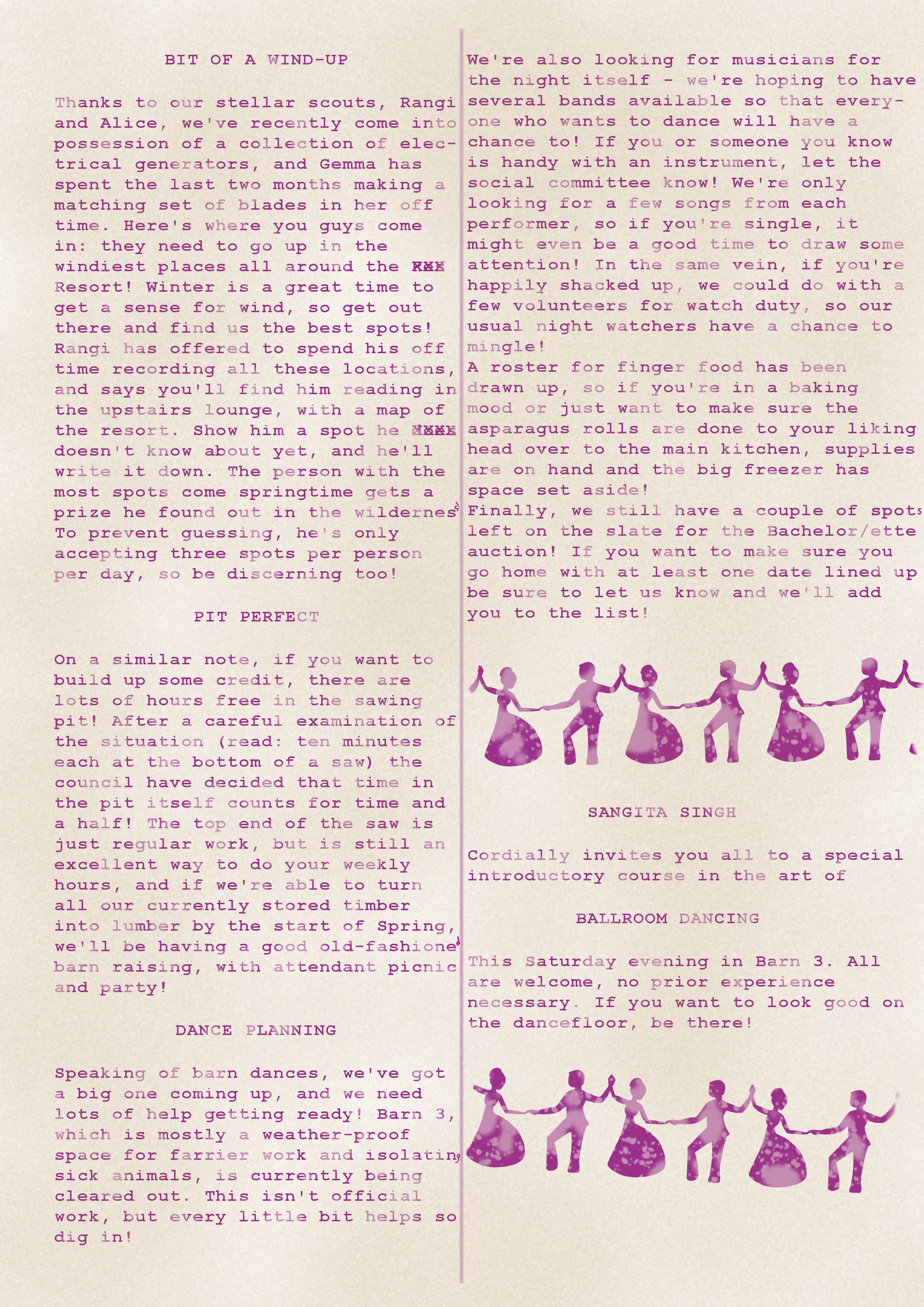 Second page of a stained and poorly printed newsletter. For full description and text see link from first image.