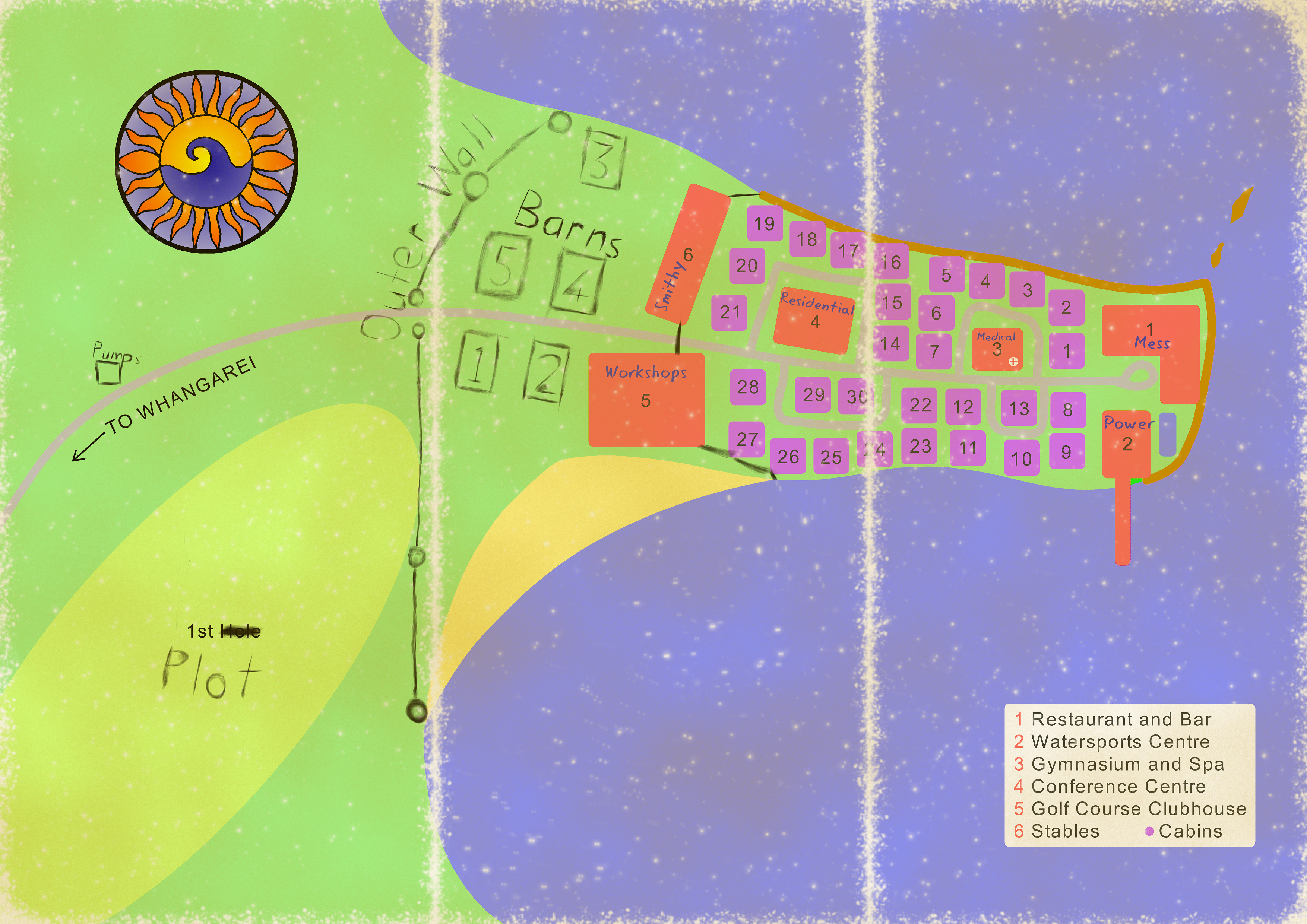 A brochure map of a beach resort on a peninsula, with a jetty, stables, and a golf course. Handwritten notes outline new buildings and defences and new purposes for existing buildings.