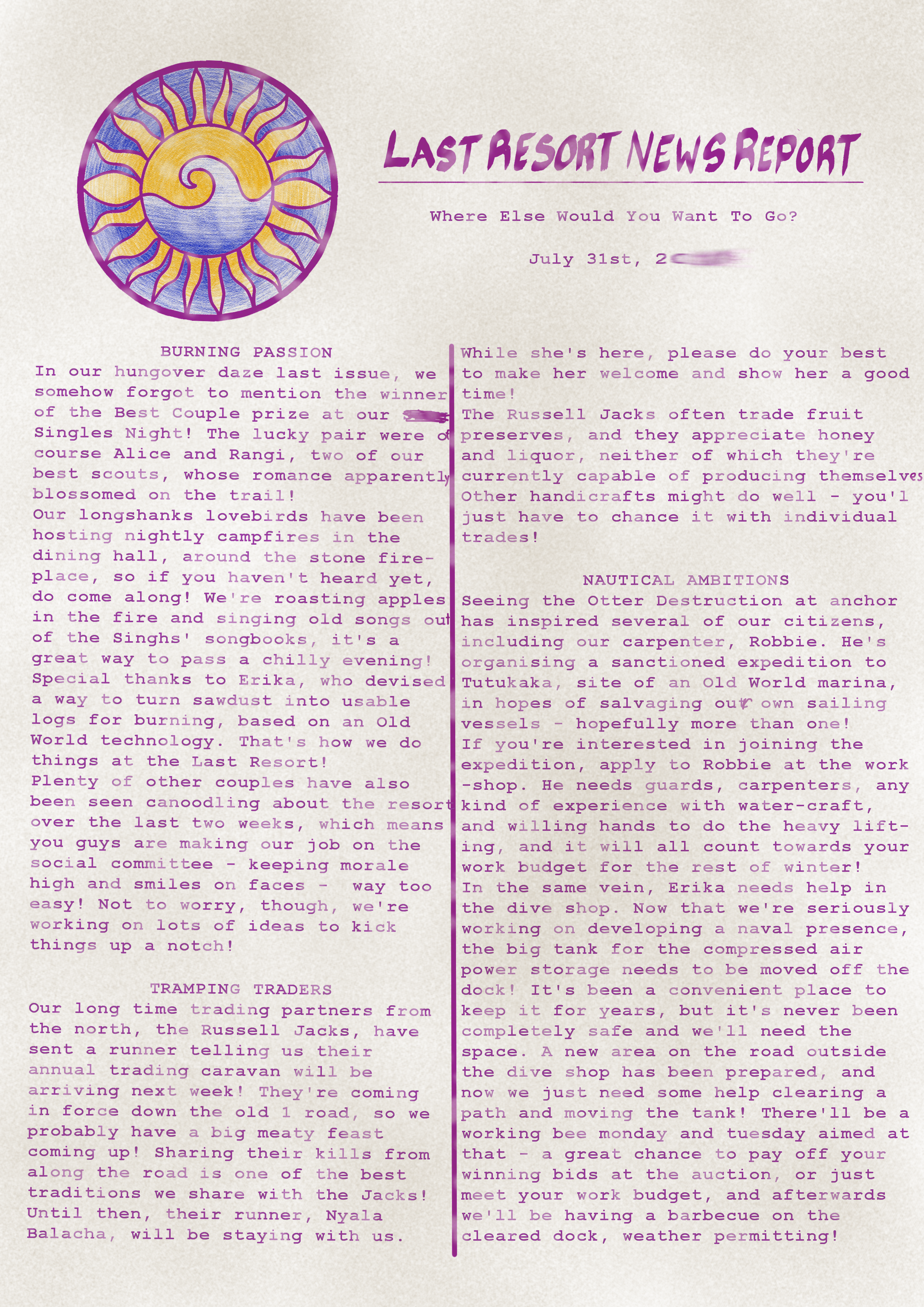 A newsletter on an A4 sheet of paper. Click for transcription.