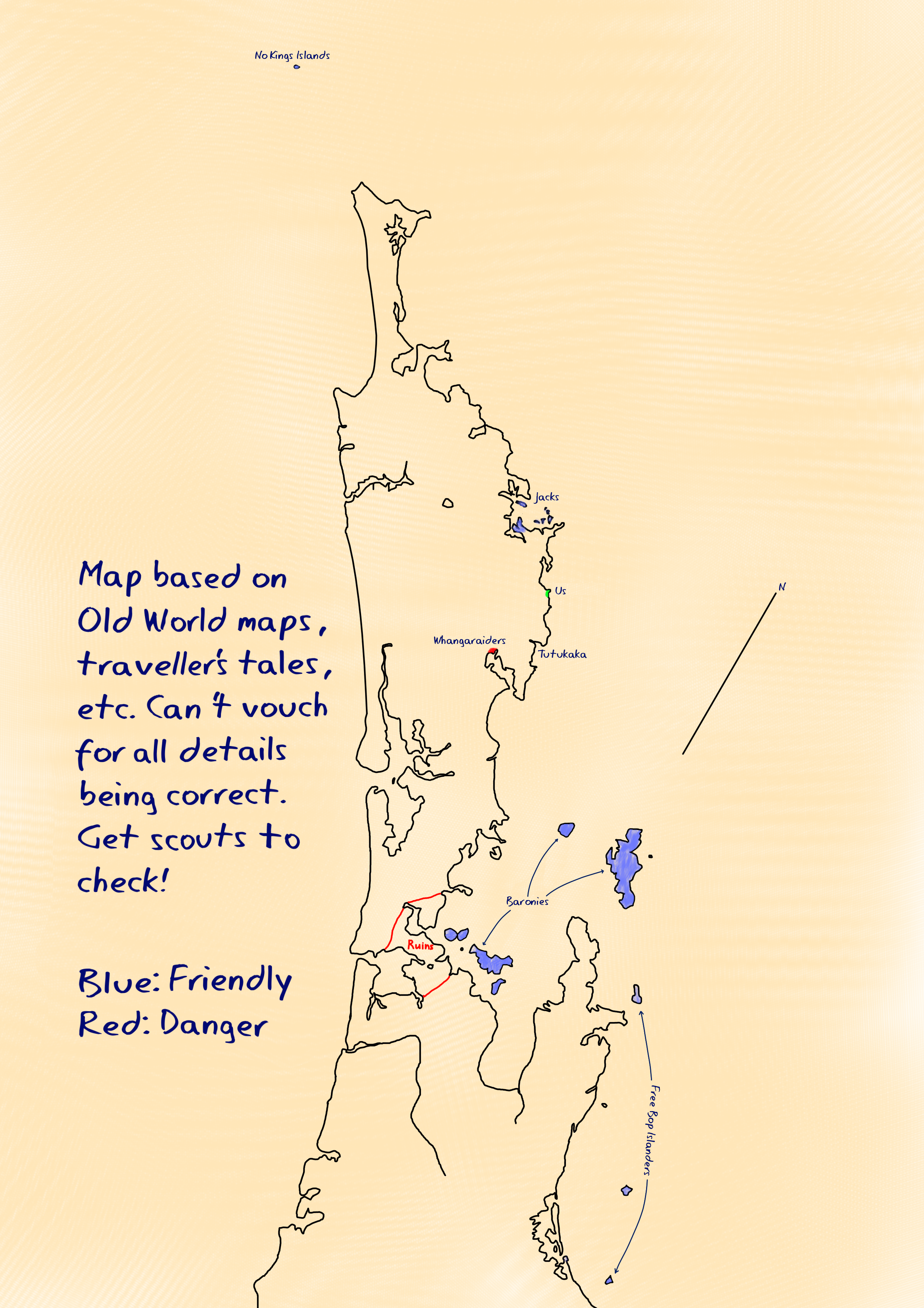 A traced map of the northern part of New Zealand, showing the locations of the Jacks, Last Resort, and other groups including the Baronies, the Free Bop Islanders, the No Kings Islands and the Whangaraiders. The ruins of Auckland are marked as dangerous.