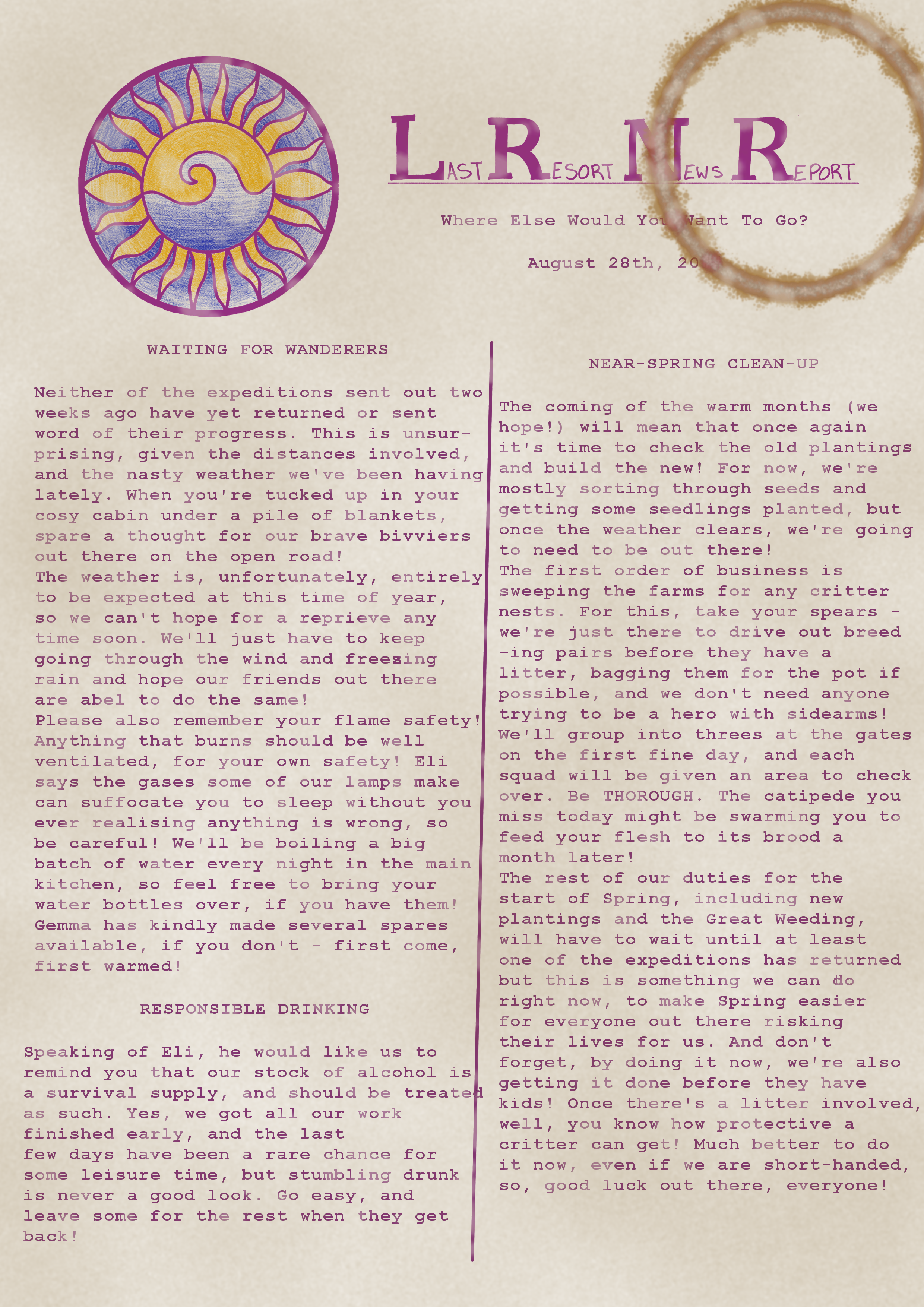 A stained page of a newsletter, with purple font. Click for transcript.