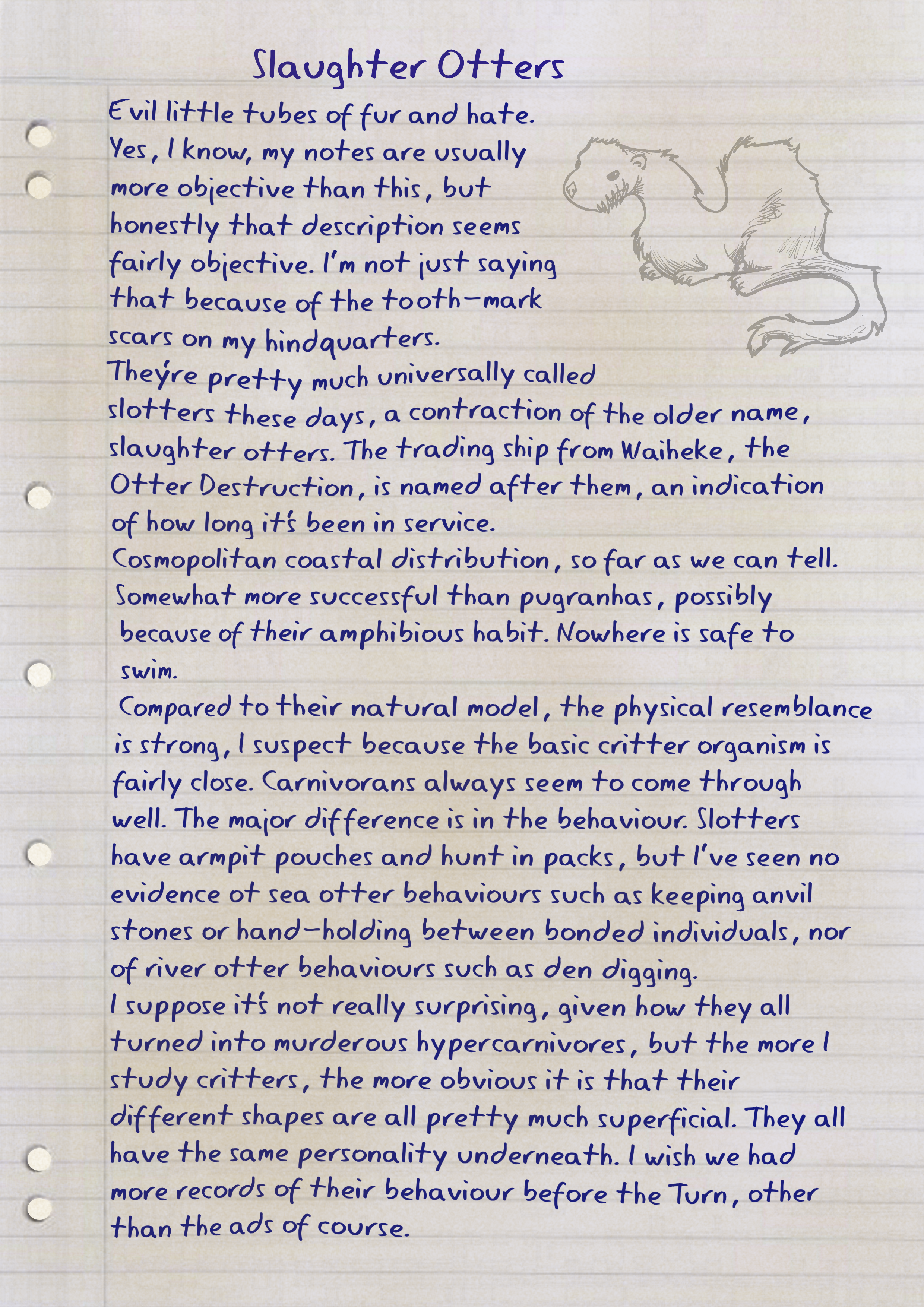 A stained refill page of notes on Slaughter Otters. See link for details.