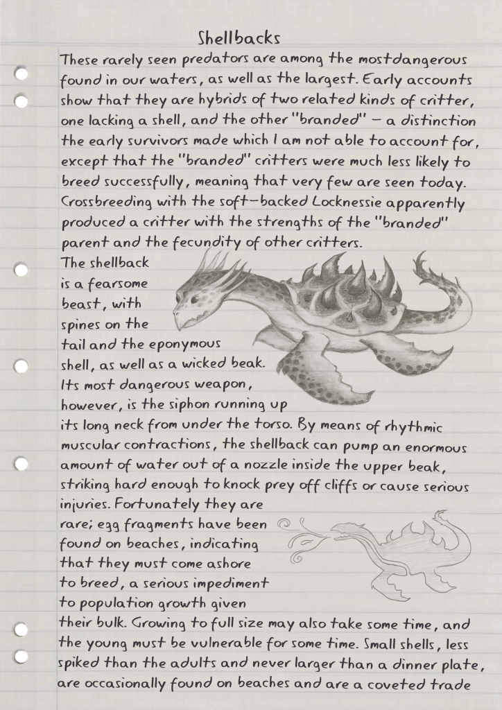 A dirty page of lined refill with handwritten notes and illustrations of a fearsome sea beast. Click for transcript.