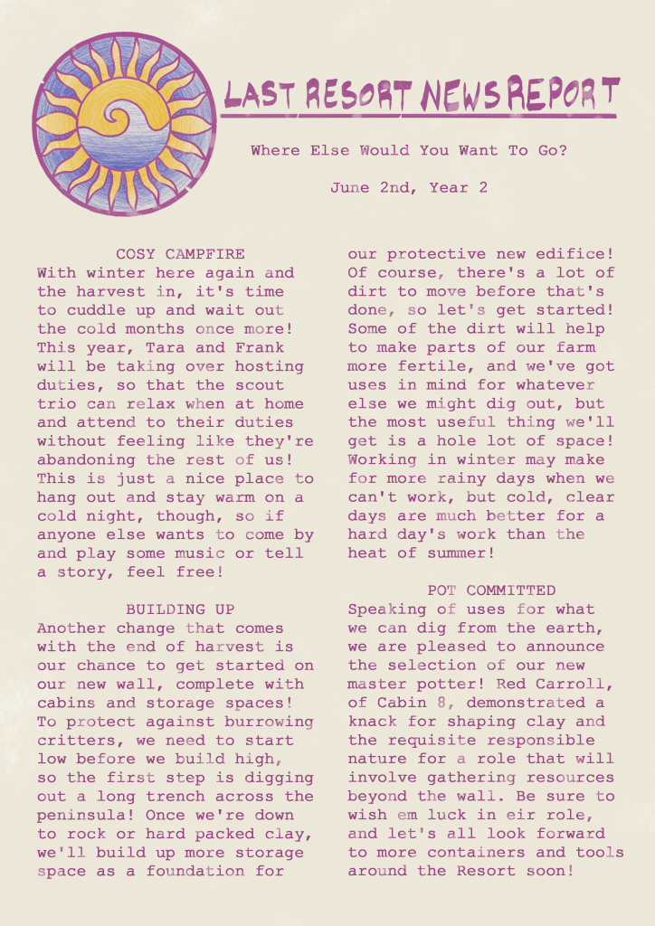 A dirty and stained newsletter page. Click for transcript.
